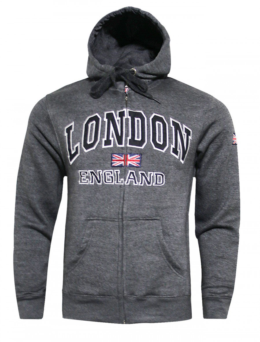 16sixty Mens London England Embroidered Fleece Jumper Grey Sweatshirt Top S-XXL