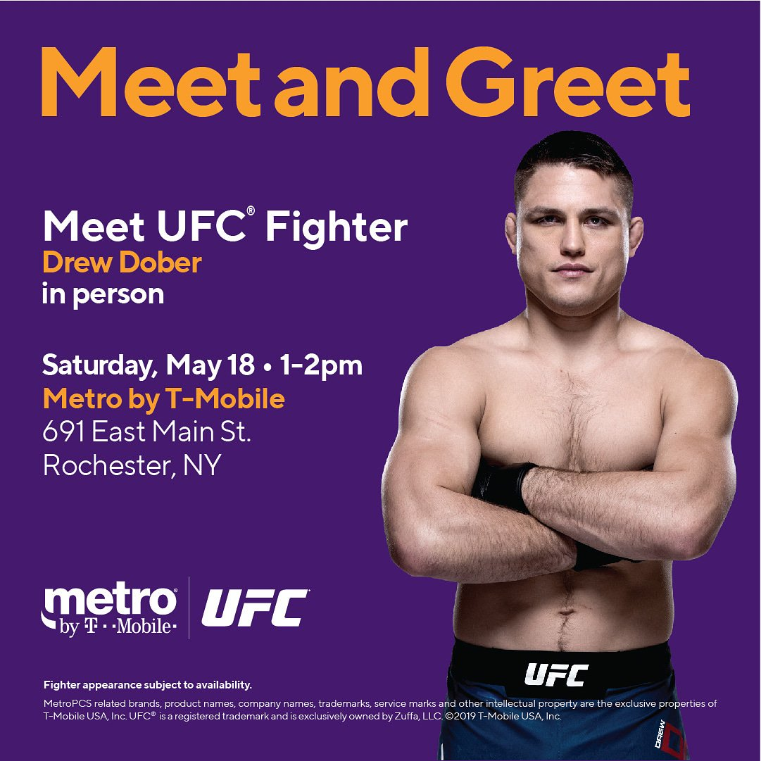 Hey Rochester! Come by @MetroByTMobile this Saturday at 1:00pm (691 E Main St.) to see me and for your chance to win some #UFCRochester tickets! 👊👊