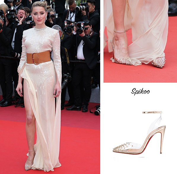 big sale 7fcaa d2df6 Amber Heard in Christian Louboutin Spikoo at the Screening ...