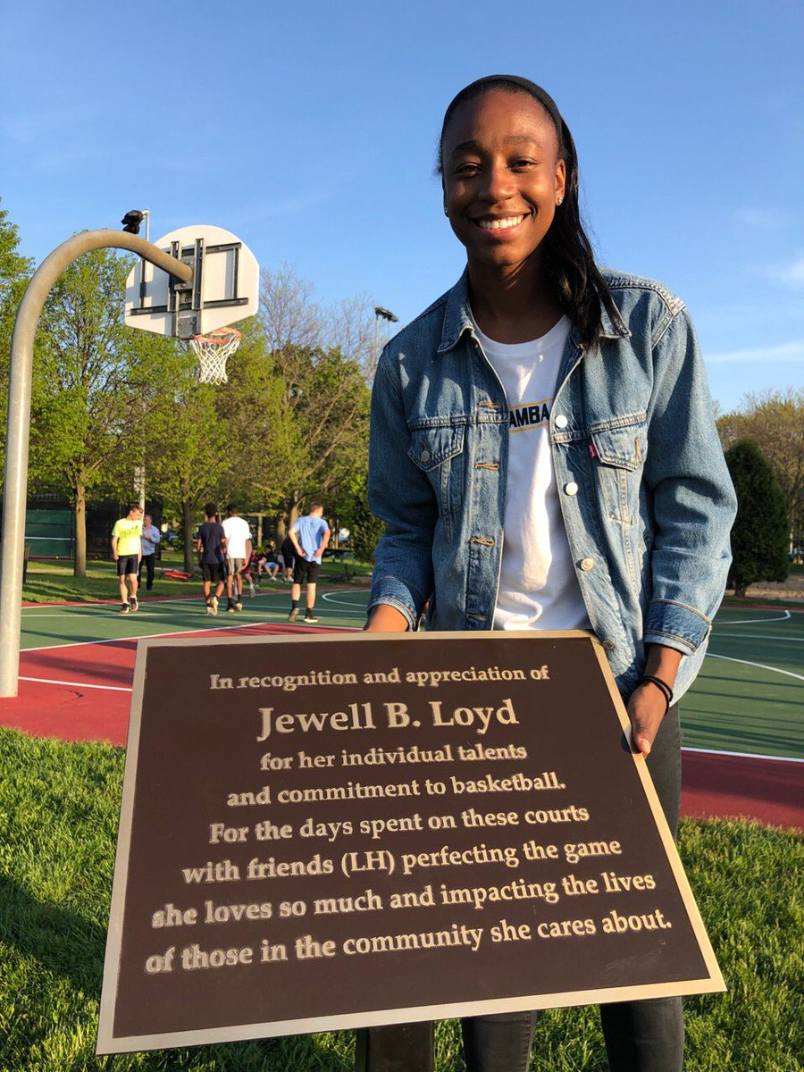 So proud! The Renaming of the her hometown park after Jewell Loyd,
