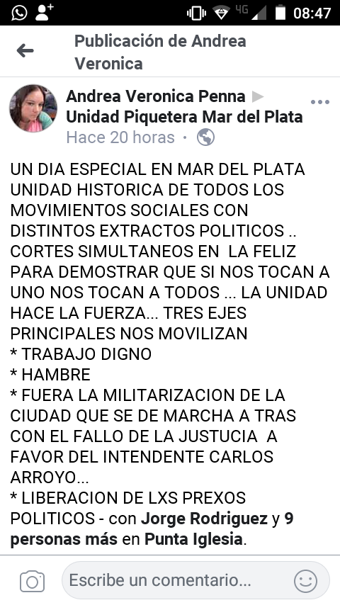 @UnidadPiquetera en la jornada piquetera ayer en Mar del Plata del @FteMilagroSala junto con todas las organizaciones sociales, por trabajo, contra el hambre y la represión.