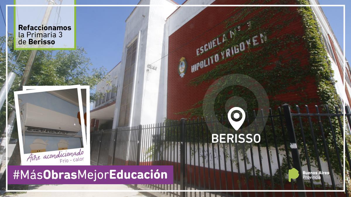 Refaccionamos la Escuela Primaria 3 de Berisso.   #MejoresEscuelas #MásObrasMejorEducación #MejoramosLasEscuelas #CadaObraCuenta