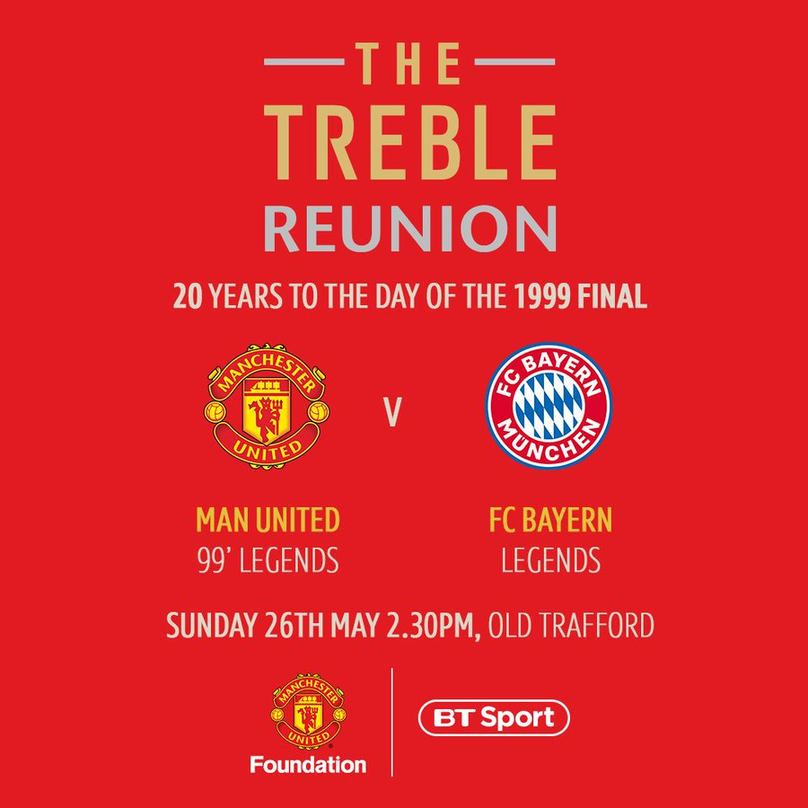 Want to win a pair tickets for the Treble Reunion on 26 May at Old Trafford? Man United take on FC Bayern Legends 20 years to the day since Utd won the Champions League.   Funds raised from the game will go towards  @MU_Foundation  work with young people #Treble99. https://t.co/M0nS6sTsP9