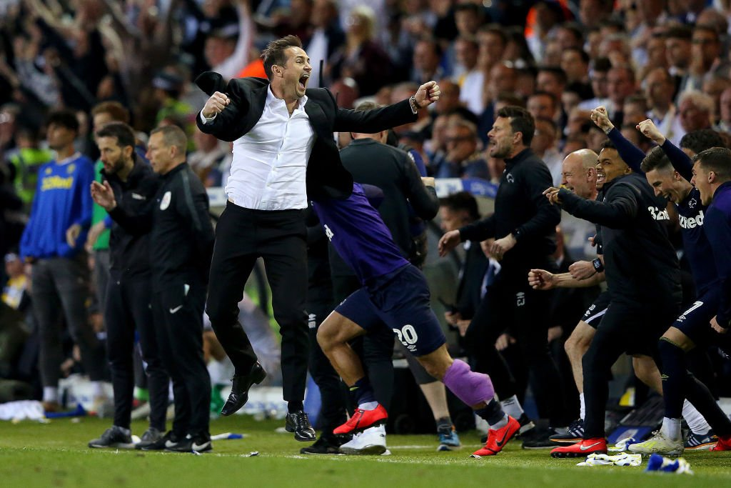 """Stop crying Frank Lampard."" 🎼A Leeds United song rebounded as Derby County fought back to make the Play-off finals.👉https://bbc.in/2w268hK  #DCFC #LUFC"