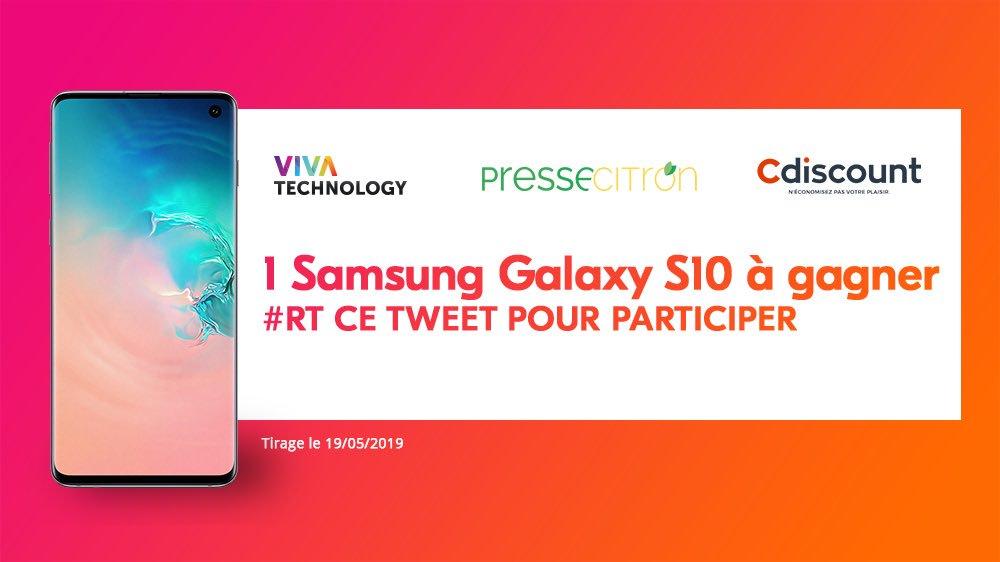 #CONCOURS spécial #VivaTech 🎁 Un #Samsung #GalaxyS10 (909€) à gagner par tirage au sort grâce à @Cdiscount et @Pressecitron ✅ Pour participer : #RT ce tweet ! (Fin: 19/05/19)