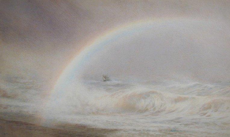 Rainbow over the Sea, a watercolour painting by Joseph Arthur Palliser Severn from 1879 #MuseumWeek #RainbowMW