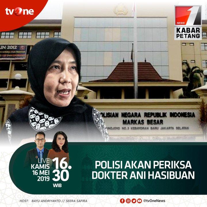 Polisi akan periksa dokter Ani Hasibuan.Saksikan Kabar Petang bersama Bayu & Seera, jam 16.30 WIB hanya di tvOne & streaming di tvOne connect, android http://bit.ly/2CMmL5z  & ios http://apple.co/2Q00Mfc #KabarPetangtvOne