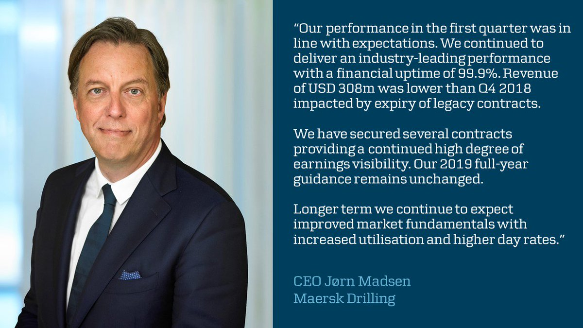 """""""We continue to deliver an #oilgas industry-leading #drilling performance with a financial uptime of 99.9%,"""" says CEO Jørn Madsen on today's Q1 financial statement http://maerskd.co/MDWEB #DRLCO"""