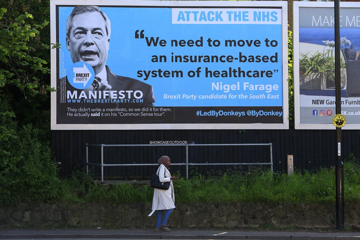Brexit Party leader @Nigel_Farage hasn't written a manifesto so we've done it for him, based on statements by him and his candidates. Billboards going up across the country this week. See more at http://TheBrexitParty.com  (location: Radford Rd, Coventry)