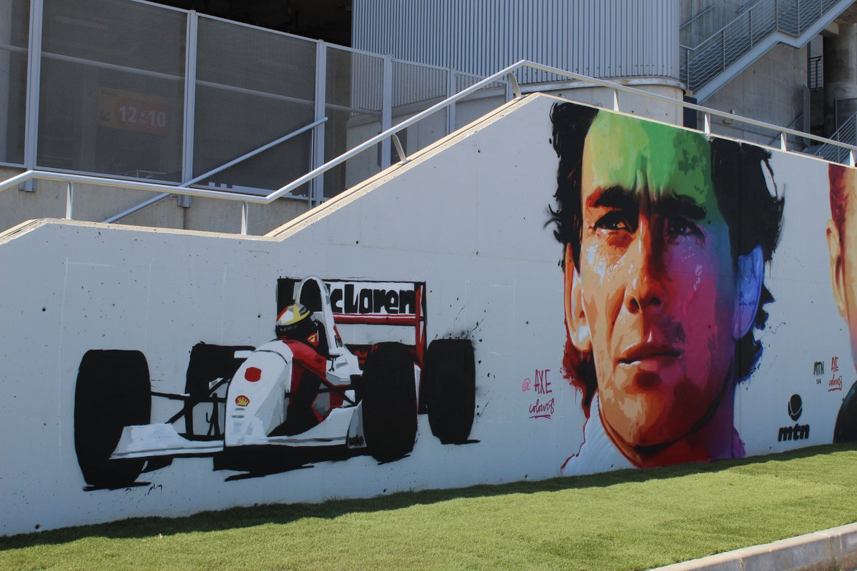 Take a look at the new @ayrtonsenna graffiti, by @AXEcolours! ☺️ #TheTributeThatNeverHappened 🇧🇷🇦🇹 #F1Barcelona #SpanishGP