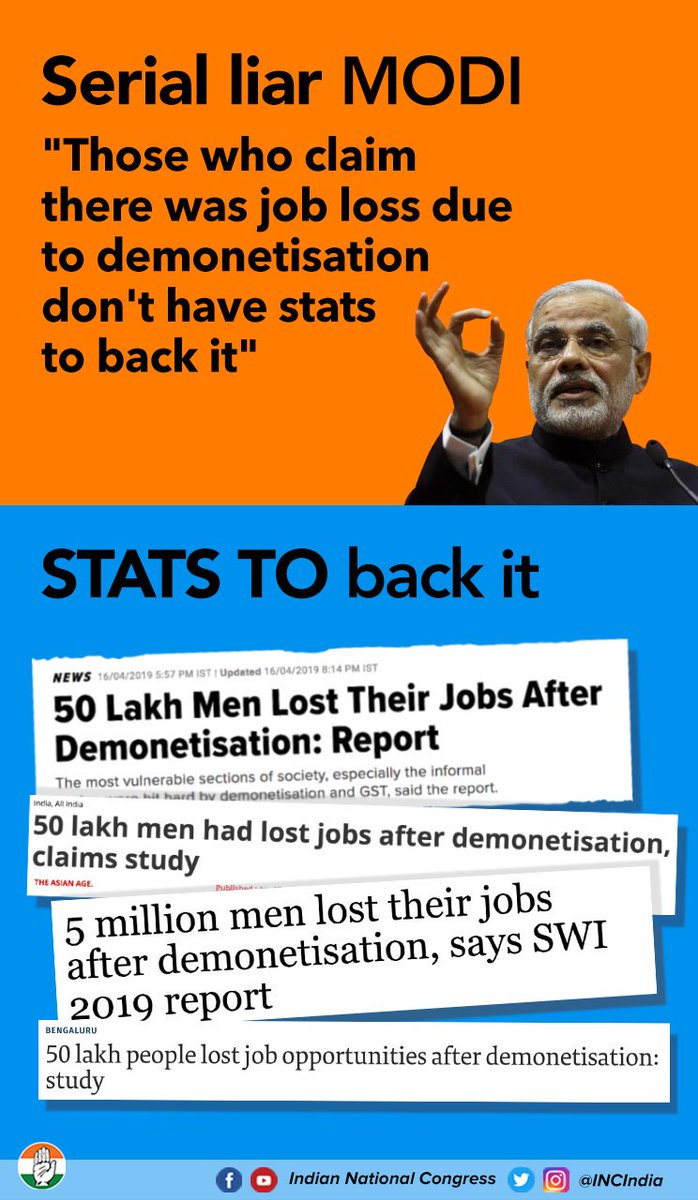 Modi's mantra: If the facts don't fit the lie, change the facts.   #ModiLies