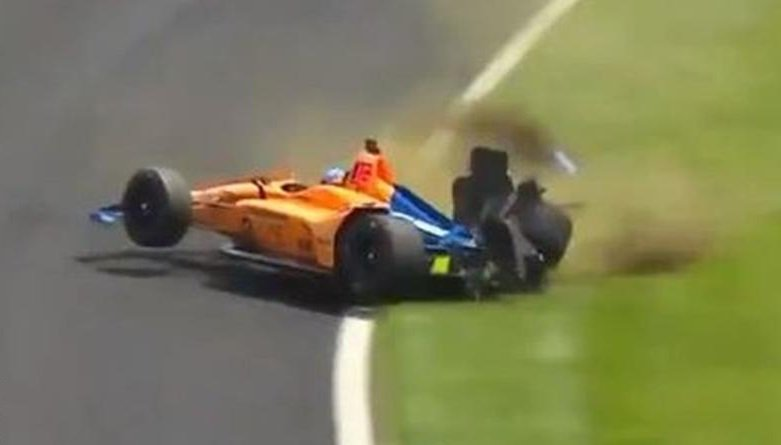 Ouch! Fernando Alonso walked away unhurt after a nasty crash in practice for the Indianapolis 500.https://bbc.in/2LGWxY9