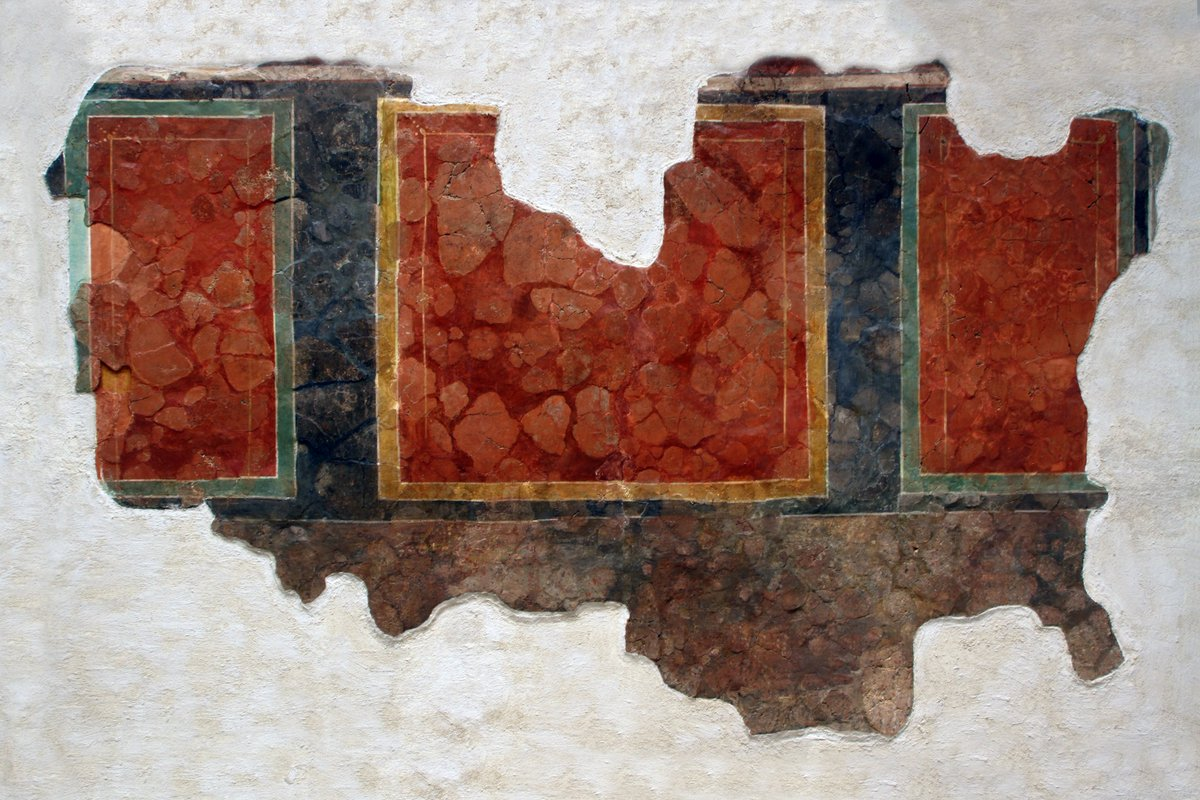 #RainbowMW Red, this large section of #Roman painted wall plaster came from a 1st century AD timber framed shop in Cirencester. Colouring for wall plaster came from Vermillion (mercury sulphide) from the mineral cinnabar.