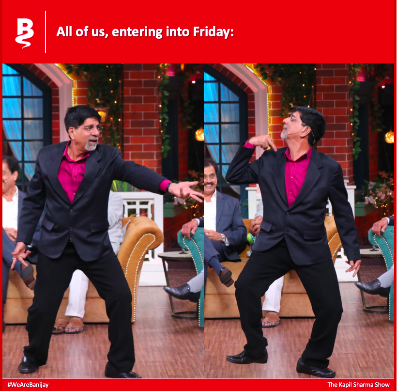 Srikkanth is all of us today, channeling that #FridayFeeling #TheKapilSharmaShow #1983WorldCup <br>http://pic.twitter.com/V6yuQMUgt4