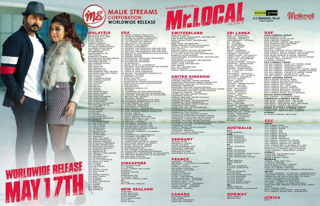 We're proud to release #MrLocal worldwide this May 17th. Trending globally for its amazing cast list and mesmerising music. Don't miss the most awaited comedy entertainer in cinemas near you. . #sivakarthikeyan #sk #nayanthara #ladysuperstar #malikstreams #msc #hiphoptamizha