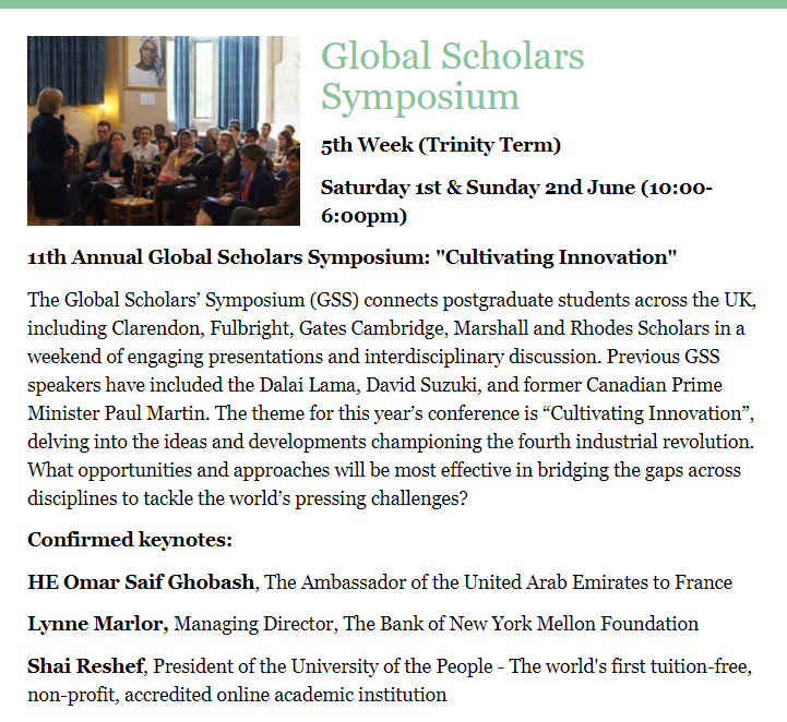 EVENT: Global Scholars Symposium - connecting graduate students of all disciplines! 1-2 June, but register by 20 May! http://globalscholars.co.uk/
