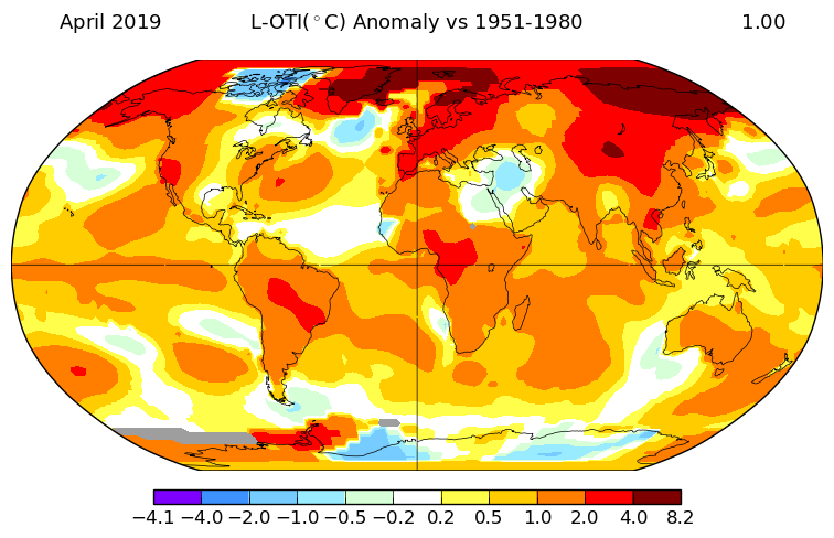 April was 0.99°C warmer than the long-term average for April (1951-1980 baseline), says @NASAGISS. Warmth especially pronounced in the #Arctic. #Climatechange  https://go.nasa.gov/2PakncL