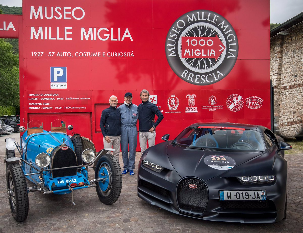 "Ready for their Mille Miglia departure: Volkswagen Group CEO Herbert Diess in a Type 35 and Bugatti Président Stephan Winkelmann and the Board member for Sales, Marketing and Customer Service Christian Mastro in a Chiron Sport ""110Ans Bugatti"" #Bugatti #MilleMiglia"