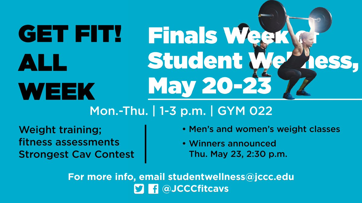 JCCC Students...during finals week come burn off some stress in the weight room M-Th 1-3pm GYM022 #stressfree #getfit<br>http://pic.twitter.com/zzxc236FgL