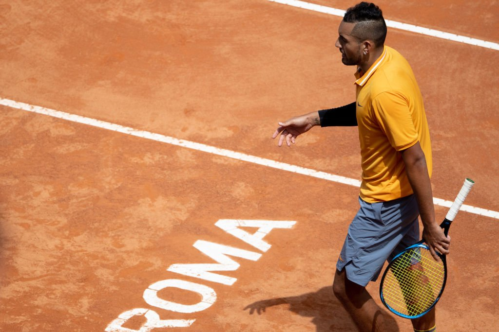 Australia's Nick Kyrgios threw down his racquet, hurled a chair and then walked off court after he was given a game penalty at the Italian Open.Full story: https://bbc.in/2EdJ83T#bbctennis