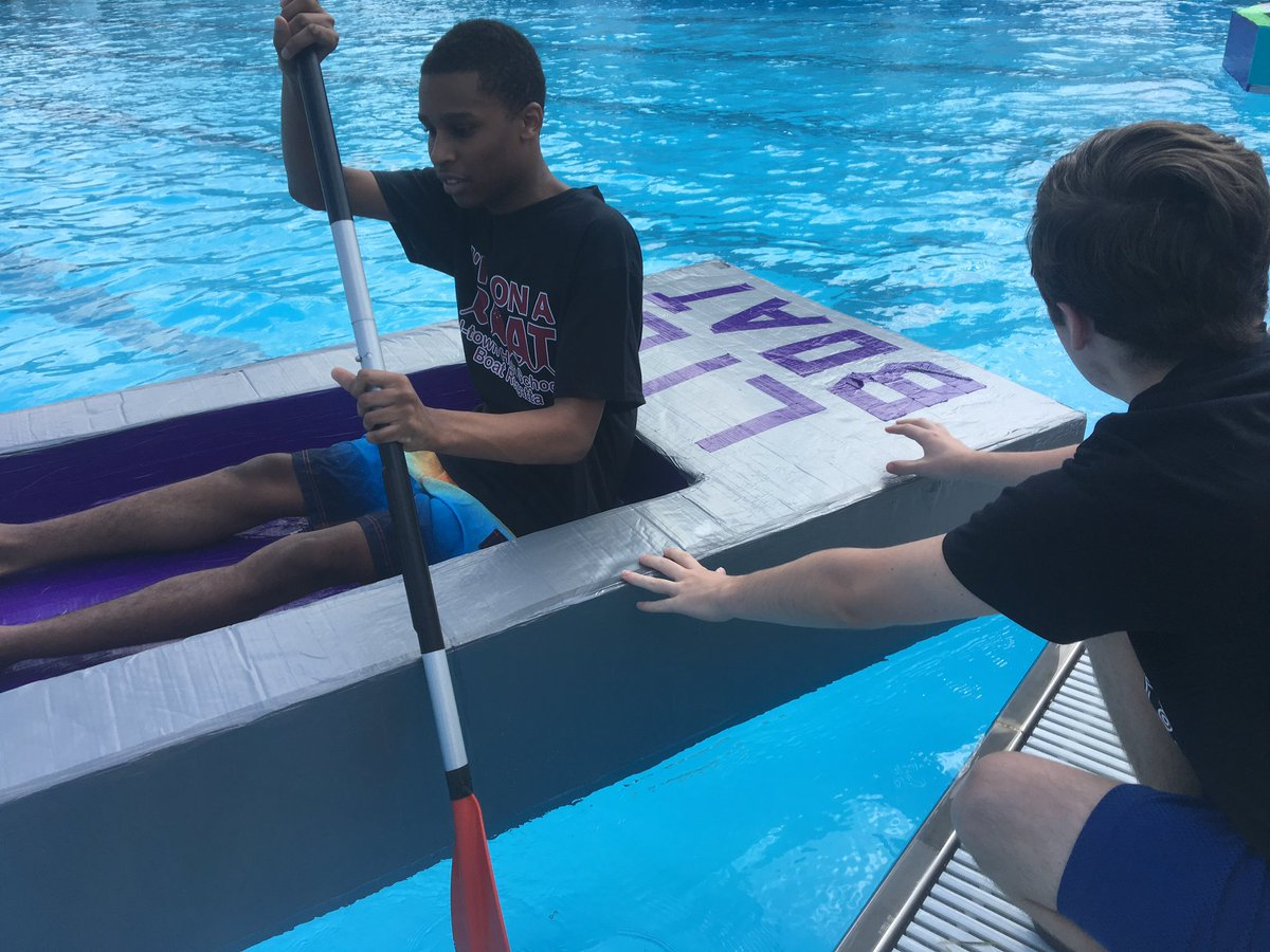 """""""I'm on a boat!"""" 🛶 Some more pictures from @JtownHS's Cardboard Boat Regatta today! #WeAreJCPS"""