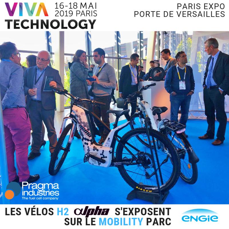 Du monde au #Mobility Parc @ENGIEInnov qui accueille les vélos Alpha de @PragmaFuelCells dans le cadre du @VivaTech #VivaTech  #hydrogen #mobilité #innovation #H2now #fuelcell #technology