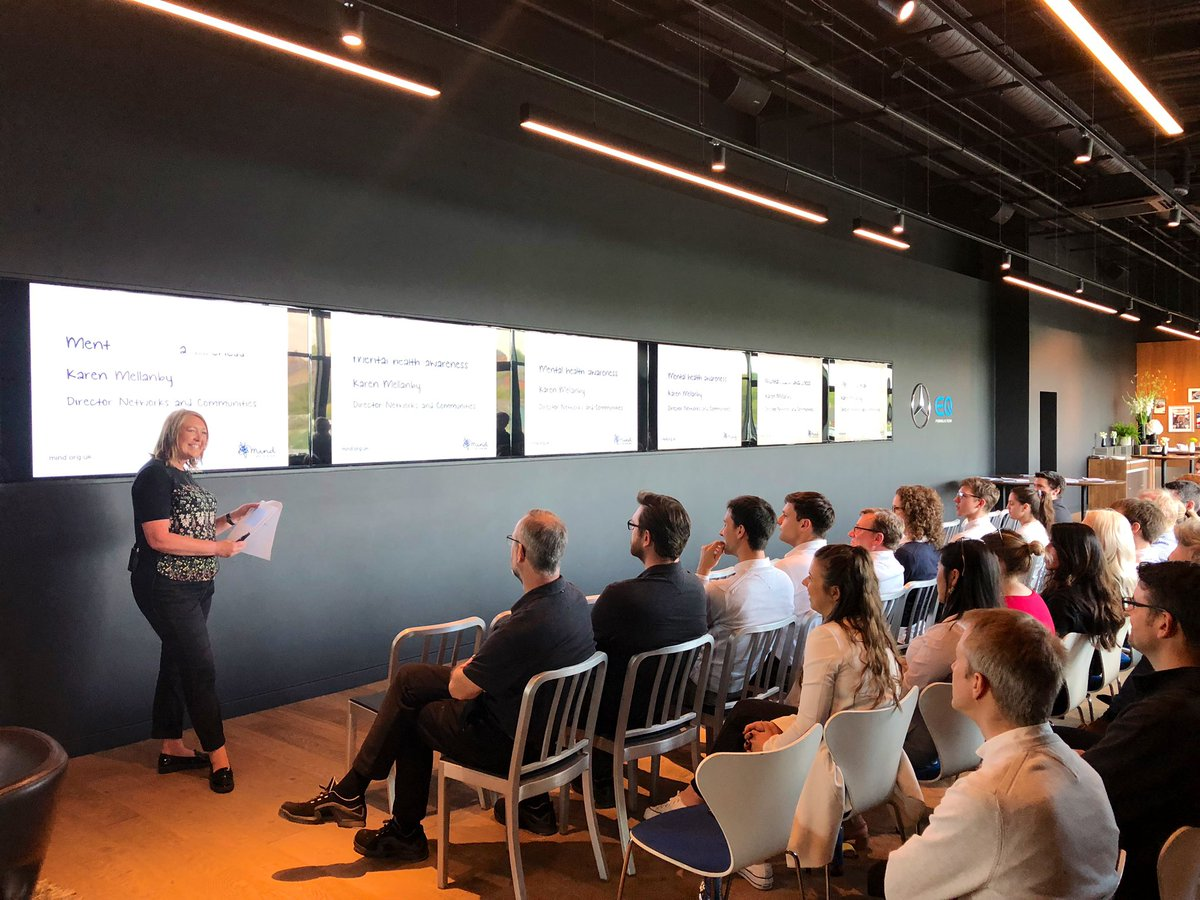 A special lunchtime lecture at the factory today with Karen Mellanby, Director of @MindCharity!   Was great to speak openly about mental health, and how to best take care of ourselves and others.   #MentalHealthAwarenessWeek