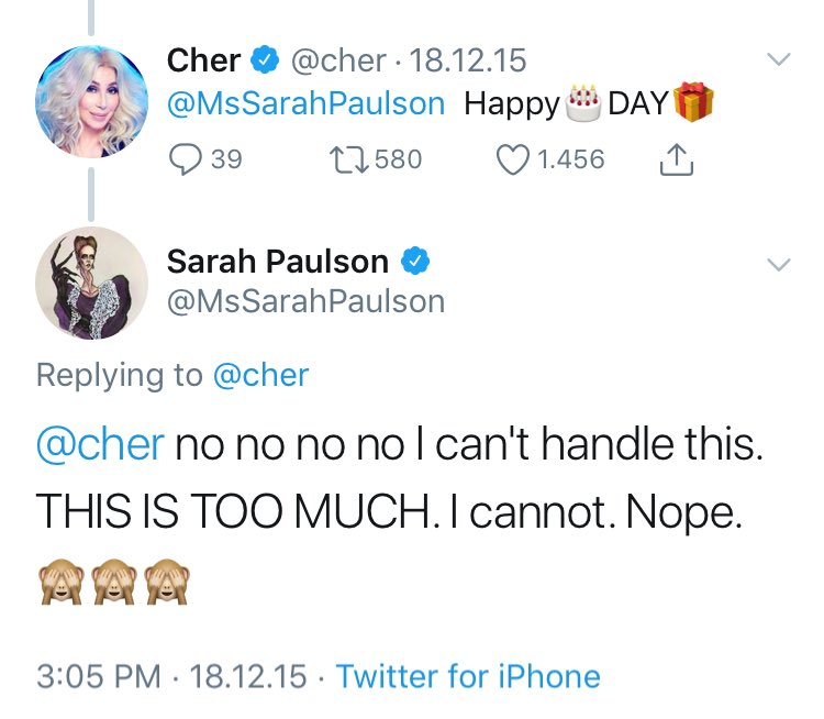 That time when Sarah freaked out bc Cher messageed her a happy birthday ! Now, they re like bffs.