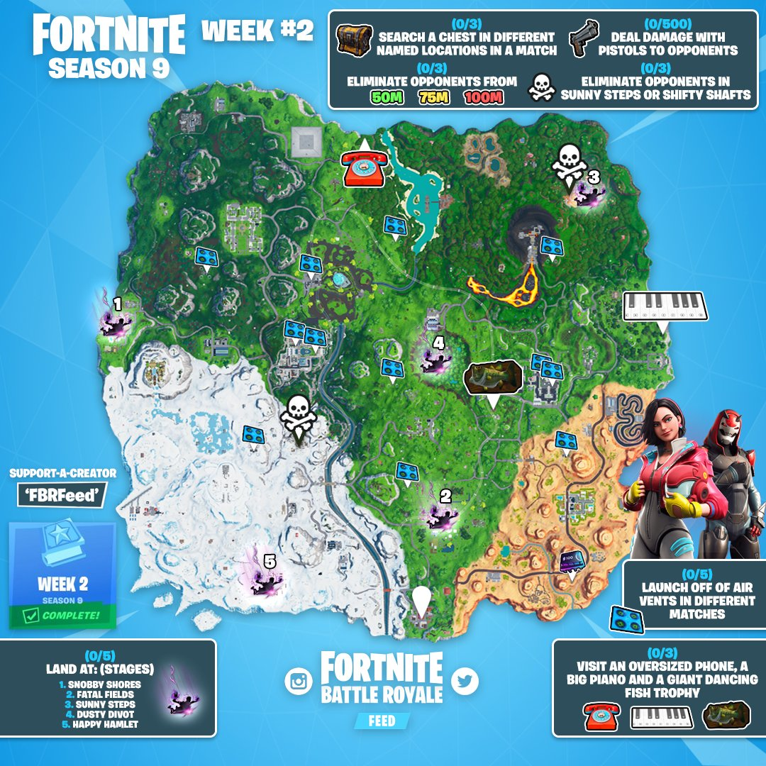 Sheet Music Piano Locations In Fortnite Season 7 Week 2
