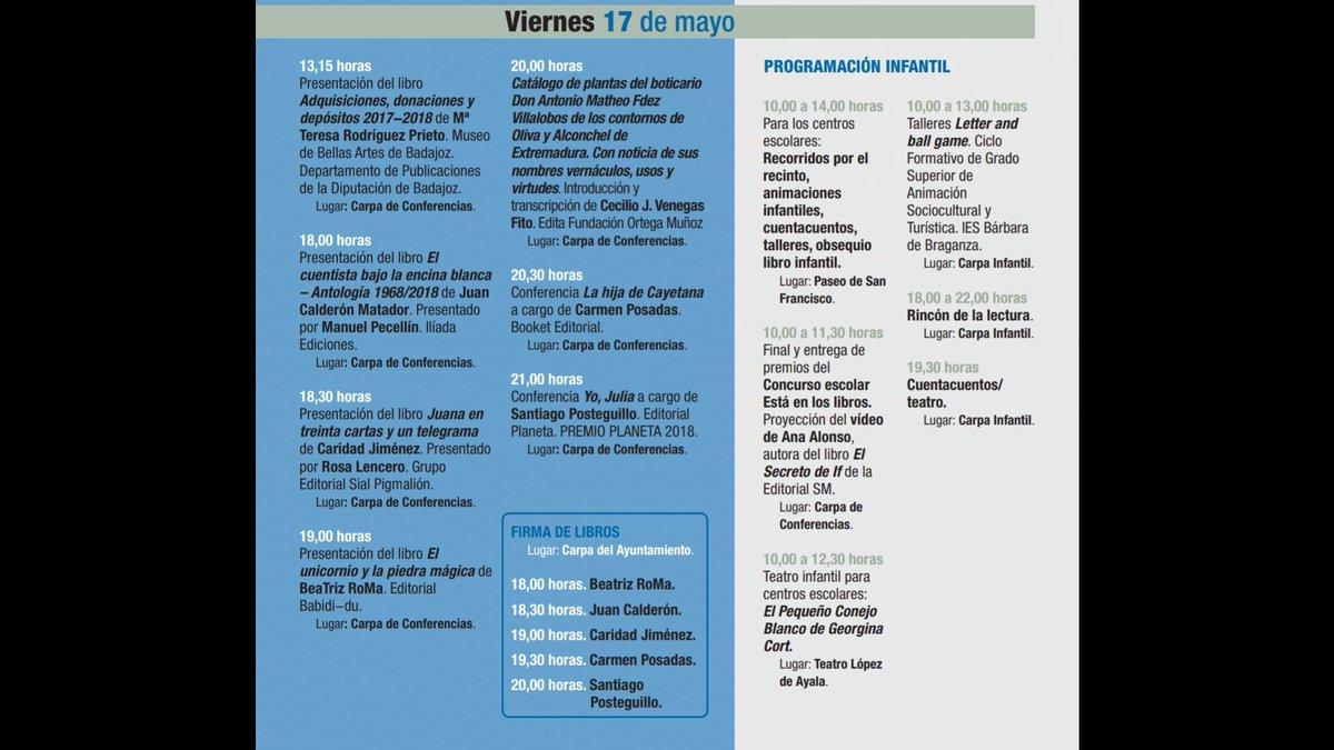 #FERIADELLIBRO Programación viernes 17 de mayo  #FLB2019 #38FLB https://t.co/6QP1SbCPmq