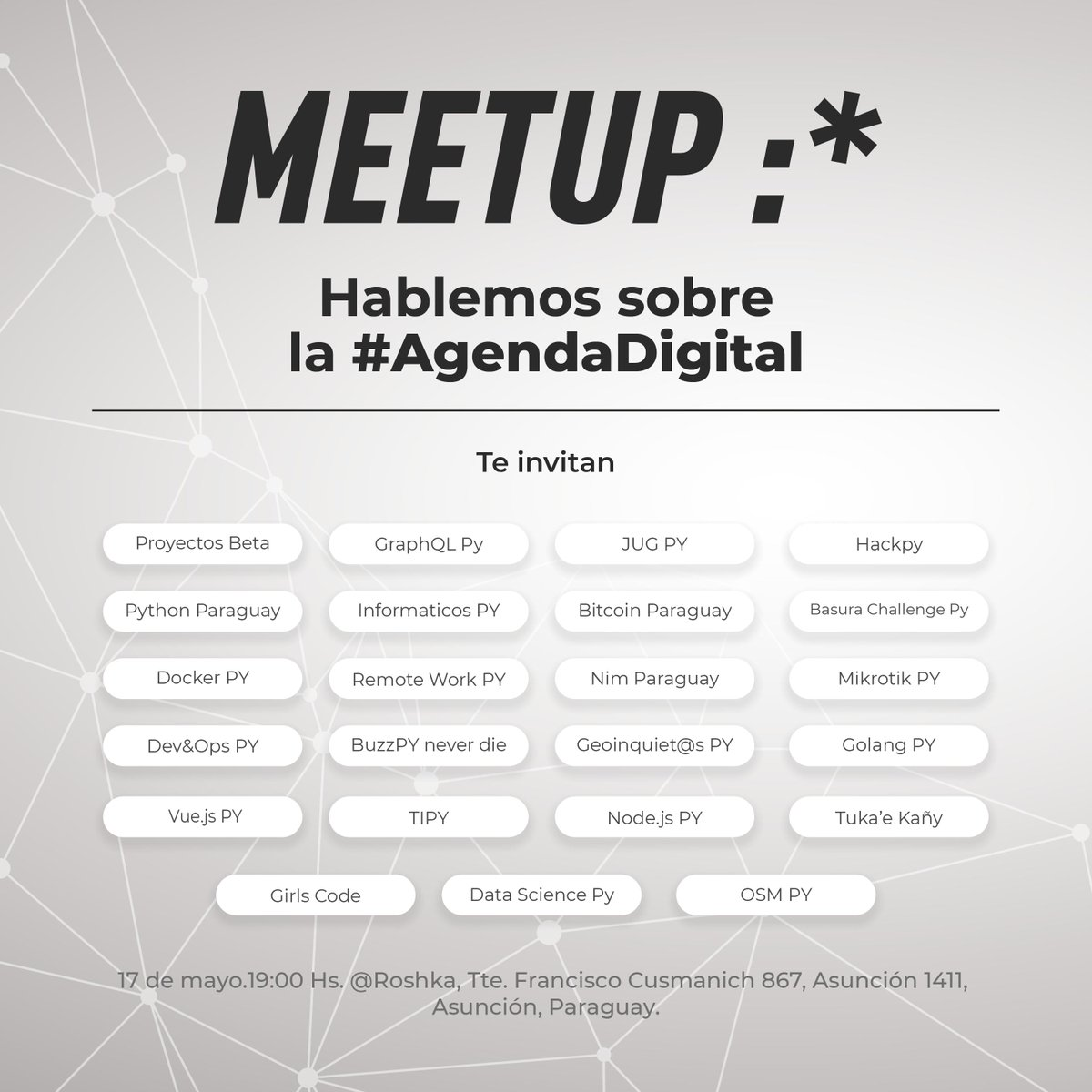 La gran mayoría de las comunidades de tecnología del país vamos a tener el  Meetup :*  Para hablar sobre la #AgendaDigital.   Por este medio invitamos a los Directores y Técnicos del @Miticpy a asistir a este evento.  Favor RT