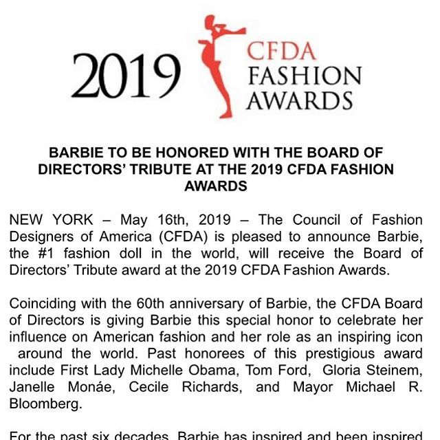 Barbie Is Being Given the Board of Directors' Tribute at the CFDA Awards