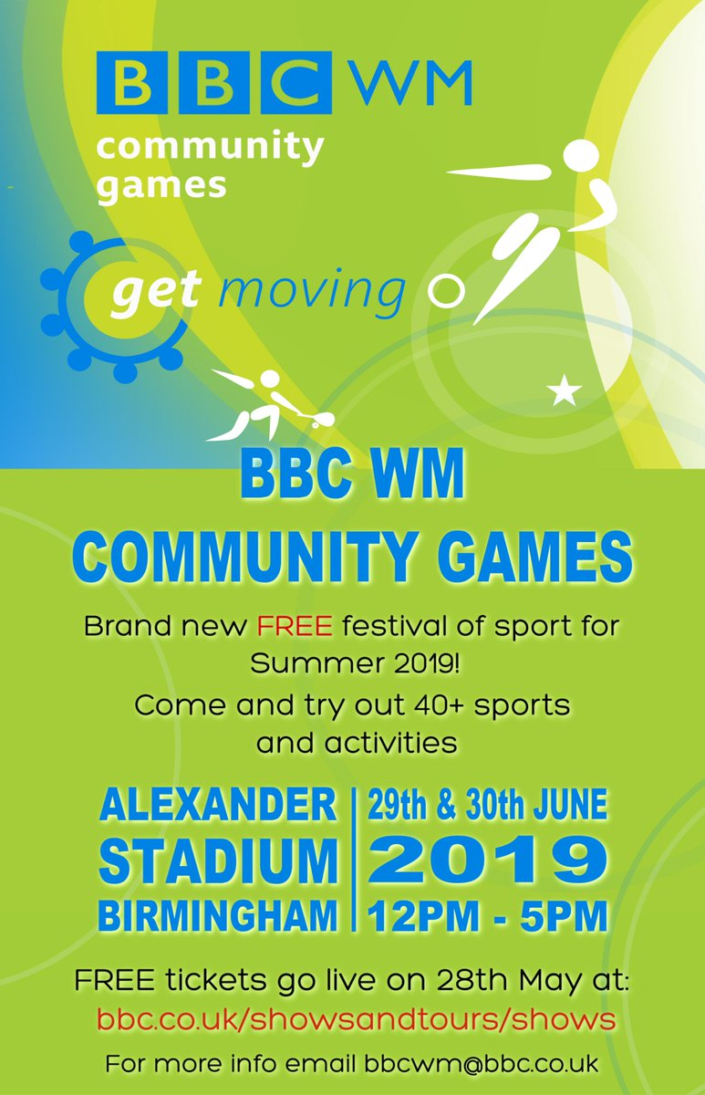 Brand new FREE festival of sport for summer 2019!The BBC WM Community Games are on their way. They'll be 50 different sports and activities on offer as taster sessions over the weekend of 29th and 30th June.ALL THE INFO#GetInspired