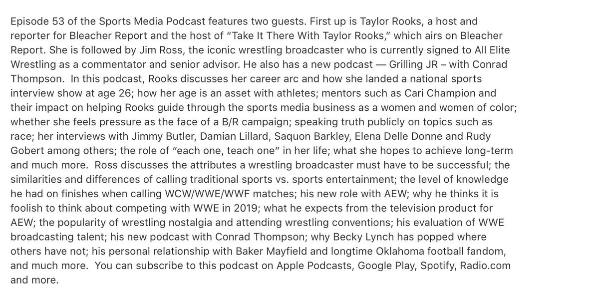 NEW SPORTS MEDIA PODCAST:   This week's guests are @TaylorRooks and @JRsBBQ   https://podcasts.apple.com/podcast/sports-media-with-richard-deitsch/id1366264191?mt=2…