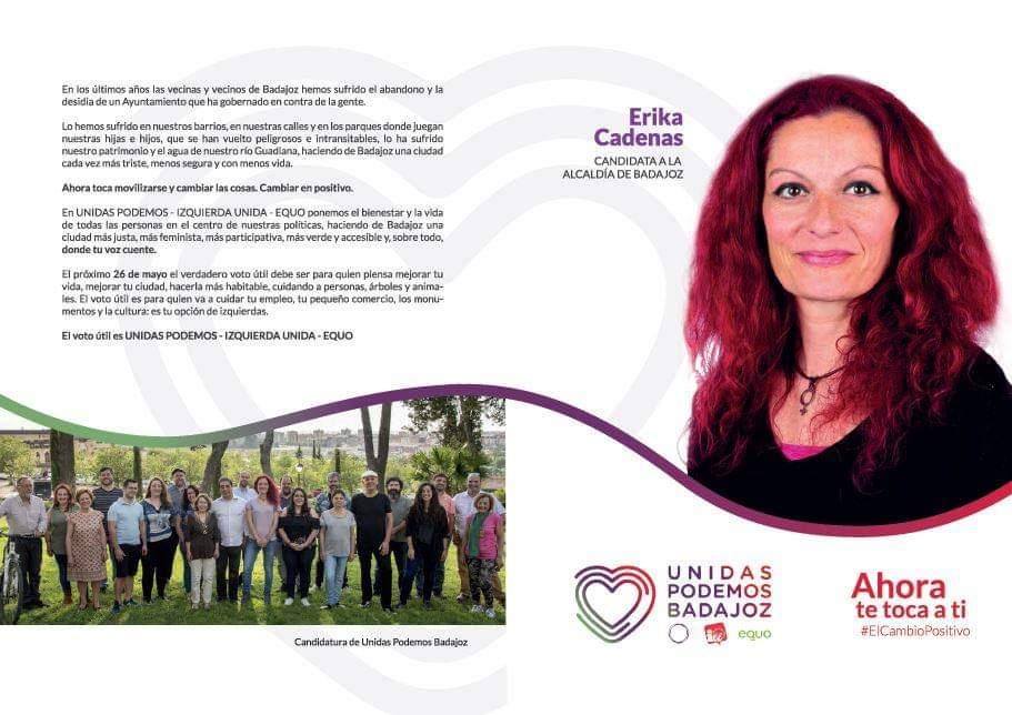 Hoy, desde Unidas Podemos - Izquierda Unida - Equo, os queremos presentar el programa con el que concurrimos a las elecciones municipales de 2019 al Ayuntamiento de Badajoz y una carta a la ciudadanía de nuestra candidata @ErikaBadajoz 💜💚❤️💪