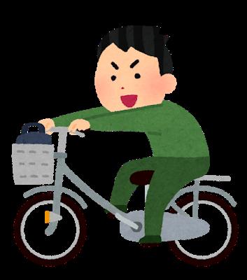 荷台に乗って自転車を運転する人のイラスト   いらすとや