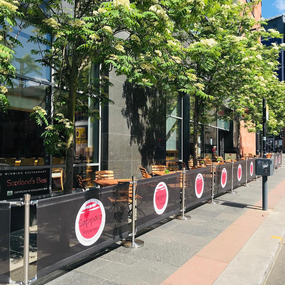 Now our guests can enjoy their drinks and nibbles outside on our new Terrace @sapporoglasgow #ingramstreet #japanese_food #cocktails #summer