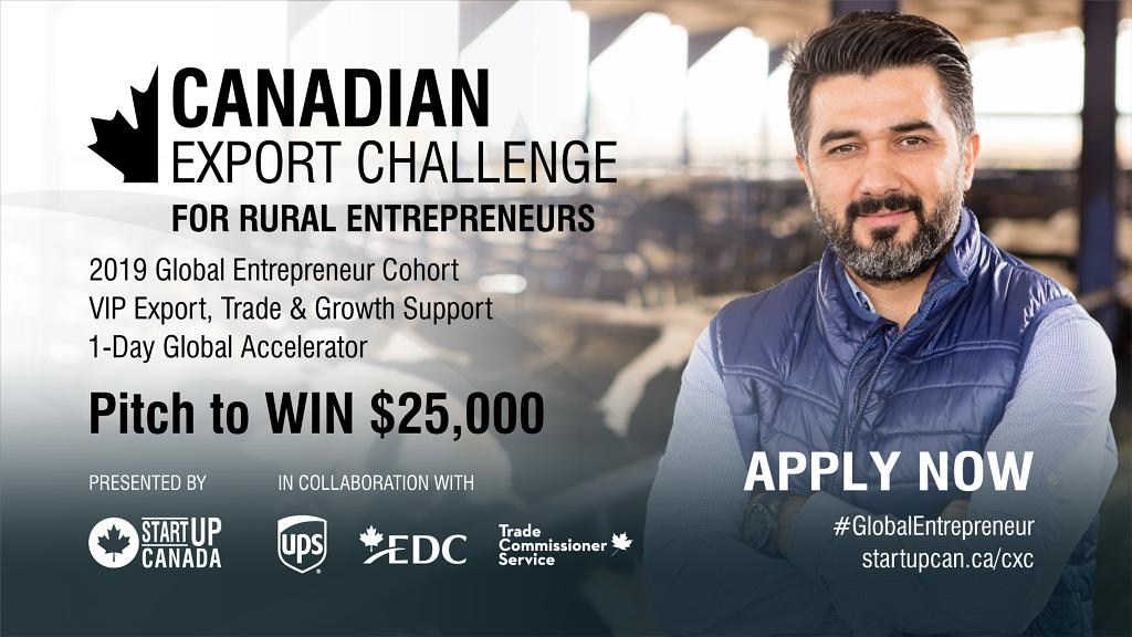 Are you a rural entrepreneur looking to scale your business by exporting to new markets? Apply for the Canadian Export Challenge for your chance to win $25,000 + the support to make your #GlobalEntrepreneur dreams happen! http://bit.ly/2Q5hLxE