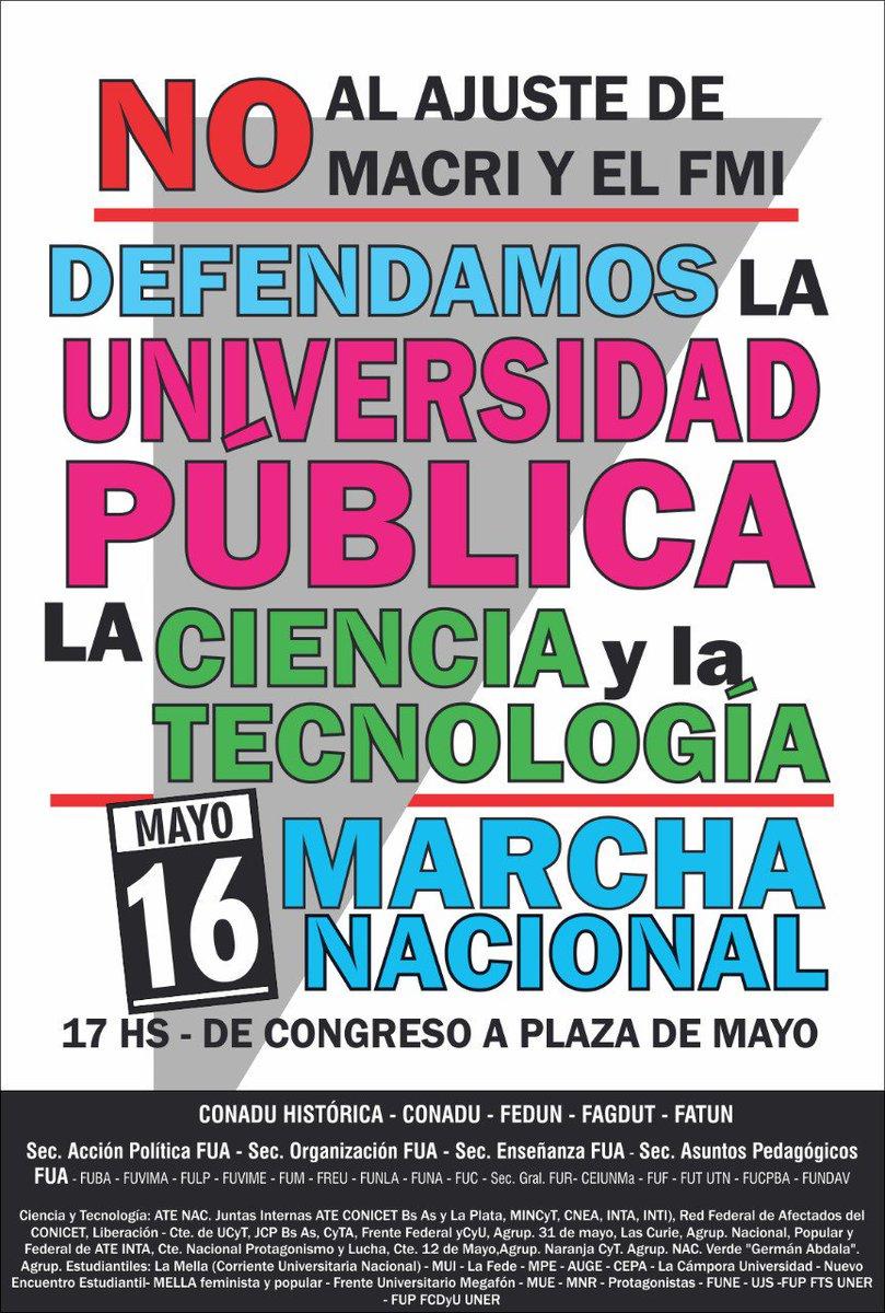 A 50 años del Rosariazo, #LaUniversidadMarcha a la Plaza de Mayo en defensa de la universidad pública, la ciencia y la tecnología. Contra el plan destructivo del macrismo: docentes y estudiantes, unides y adelante ✊🔥
