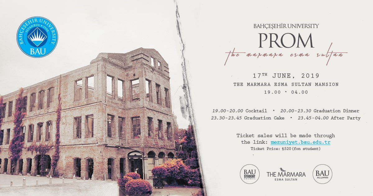 BAU Graduation Prom'19, will be held on June 17th at The Marmara Esma Sultan Mansion. You can find the link for the ticket sale in our last Instagram story or to have further information you can visit the stand in the main foyer area. Have fun, you're graduating! 🥳🎓
