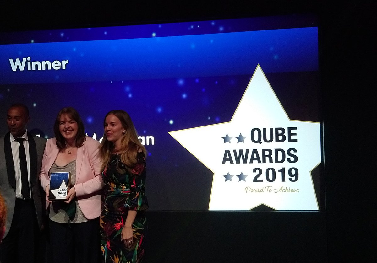 Our very own @MegannRBM presenting the outstanding achiever of the year award at the #Qubeawards2019 well done to all the nominees this year. @cityandguilds @ILM_UK