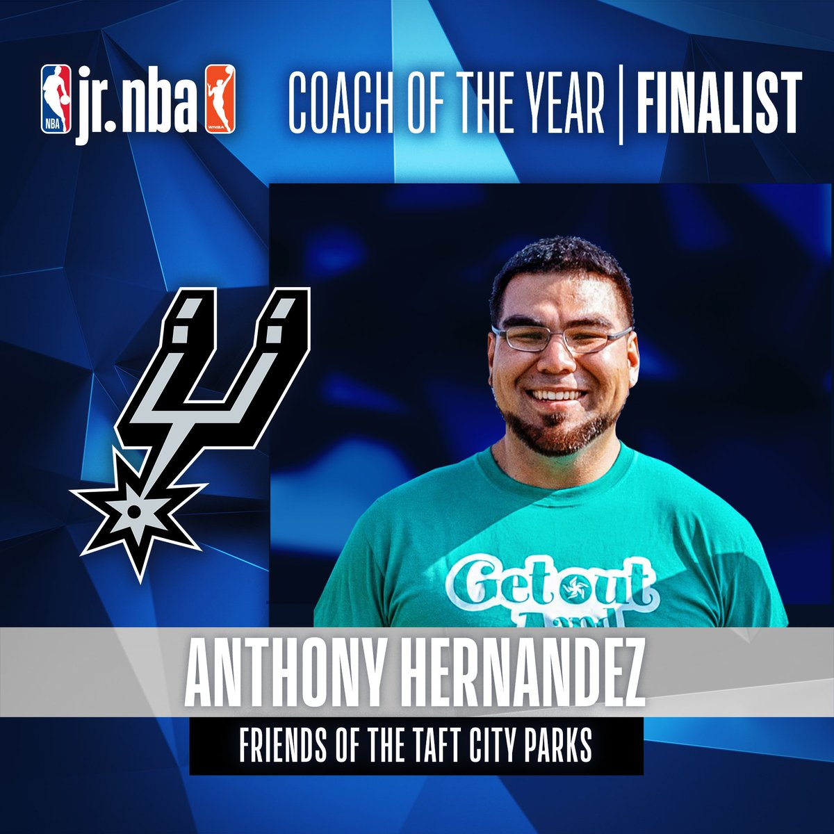 A finalist for 2019 #JrNBACOY is Anthony Hernandez. Coach Anthony is the @Spurs' Vice Chairman for the Parks and Recreation organization, and helps run its Jr. NBA league! Jr. NBA Coach of the Year will be announced at the Jr. NBA Youth Basketball Leadership Conference! 👏👏 https://t.co/TKtmuIeAA5
