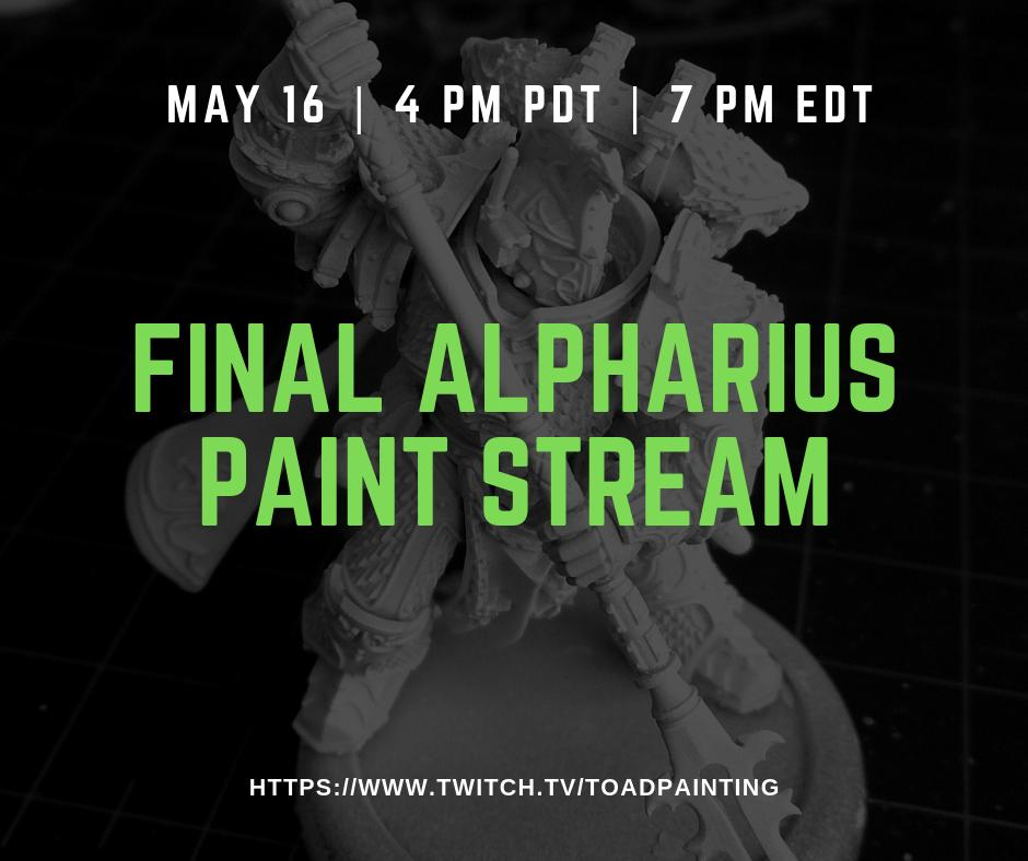 Time for one more session of Alpharius! Working on his staff today. This'll be the final Alpharius stream, after this week it's time for Lock 'N Load prep! starting at 4pm.  http://www.twitch.tv/toadpainting/   #gamesworkshop #warmongers #Warhammer #40k #warhammer40k #ForgeWorld