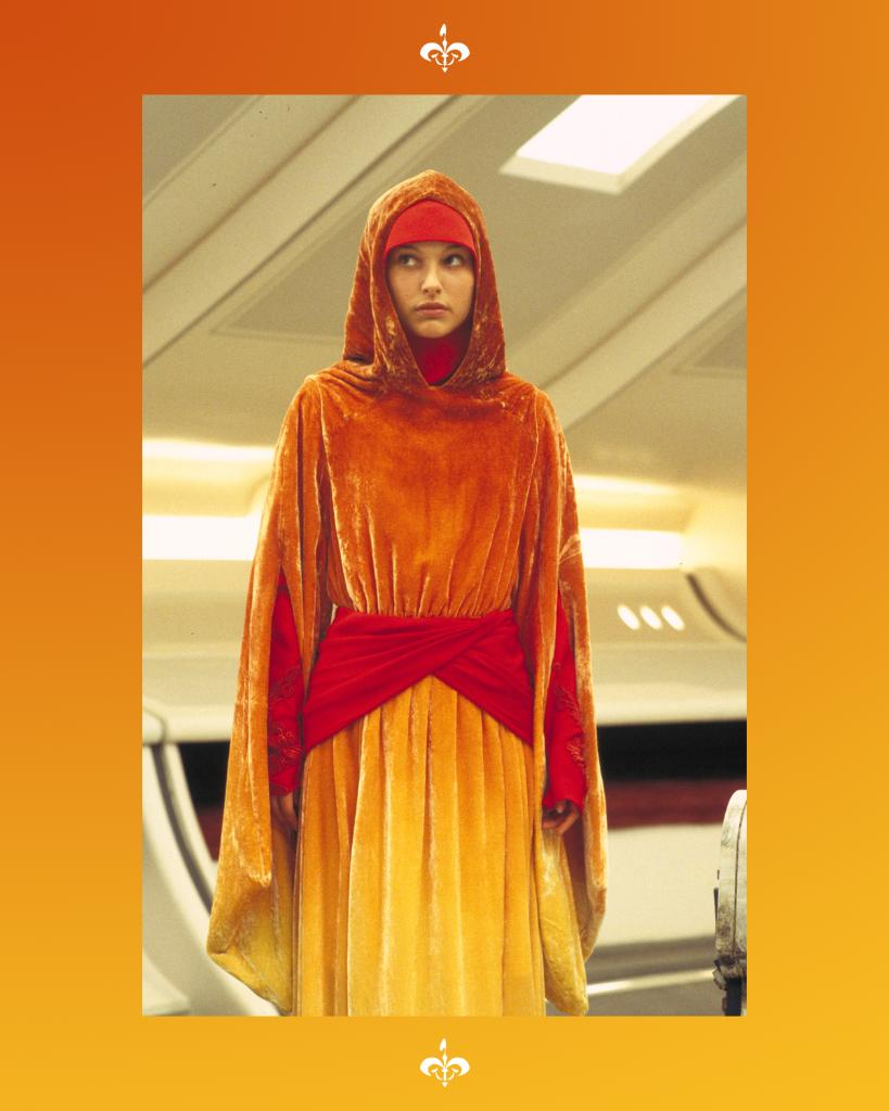 """""""We are brave, your highness.""""  Padmé Amidala disguises herself as a handmaiden in this ombréd travel gown look."""