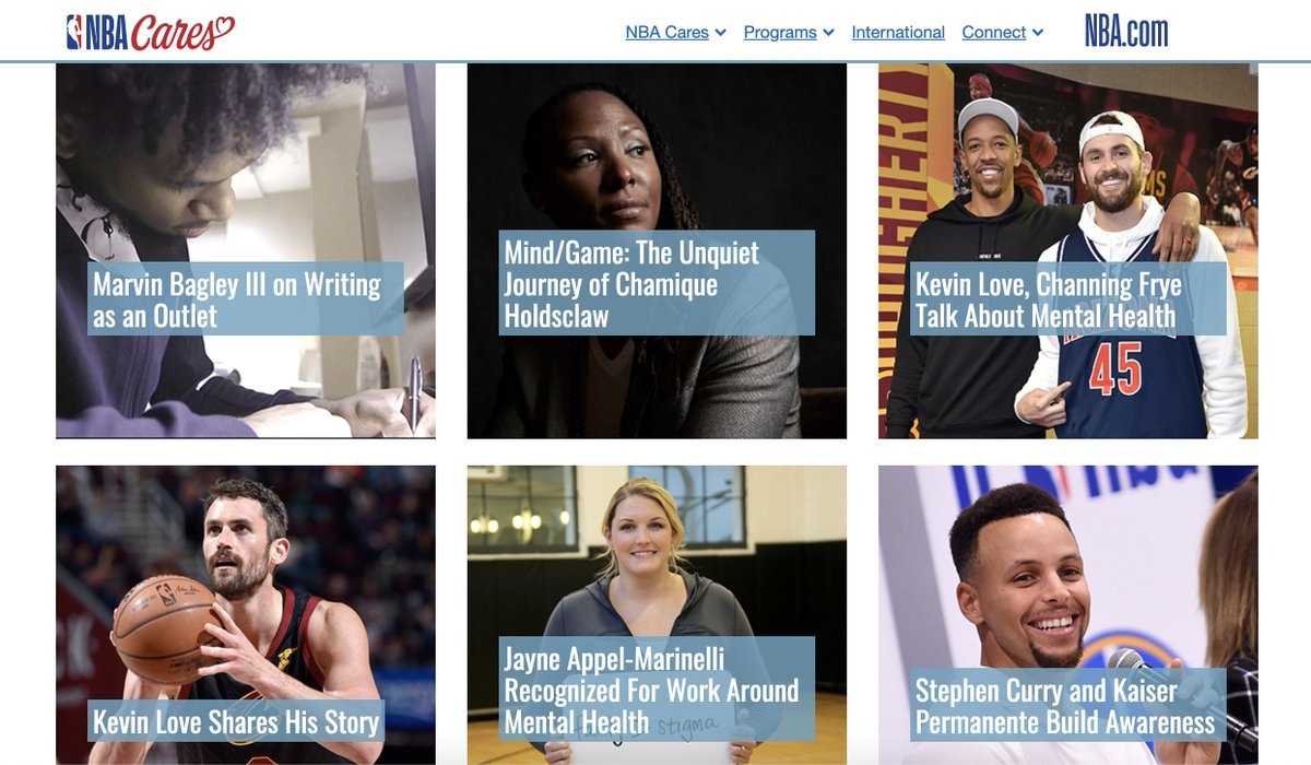 Proud to be a part of all of the great content on the @nba Mind Health website, including the stories of @kevinlove @RealJayWilliams and @StephenCurry30. Check it out, reflect and share! https://cares.nba.com/mindhealth/  #MentalHealthMatters #MentalHealthAwarenessMonth