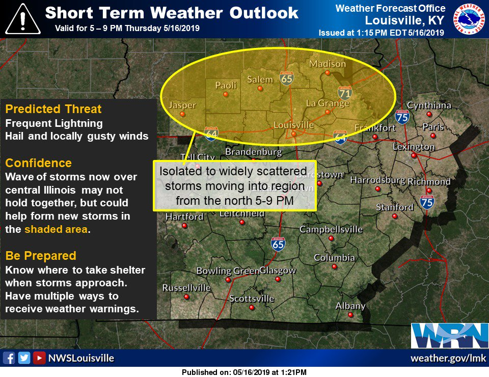 Confidence in isolated to widely scattered storms later this afternoon increasing over southern IN and north central KY. #lmkwx #inwx #kywx
