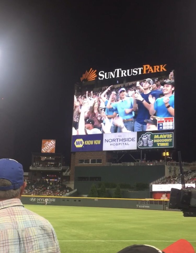 Got on the screen at the @Braves game last night! Gotta believe it was because of my @AJStylesOrg hat I was wearing!