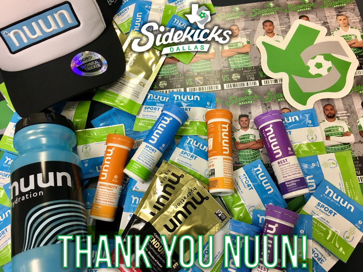 HUGE shoutout to @nuunhydration for sending the Dallas Sidekicks some amazing hydration, recovery, and relaxation products! Thanks for keeping our players in top shape both on and off the pitch!  #GoKicks #Teamnuun #makeyourwatercount <br>http://pic.twitter.com/3F3rK8alLr