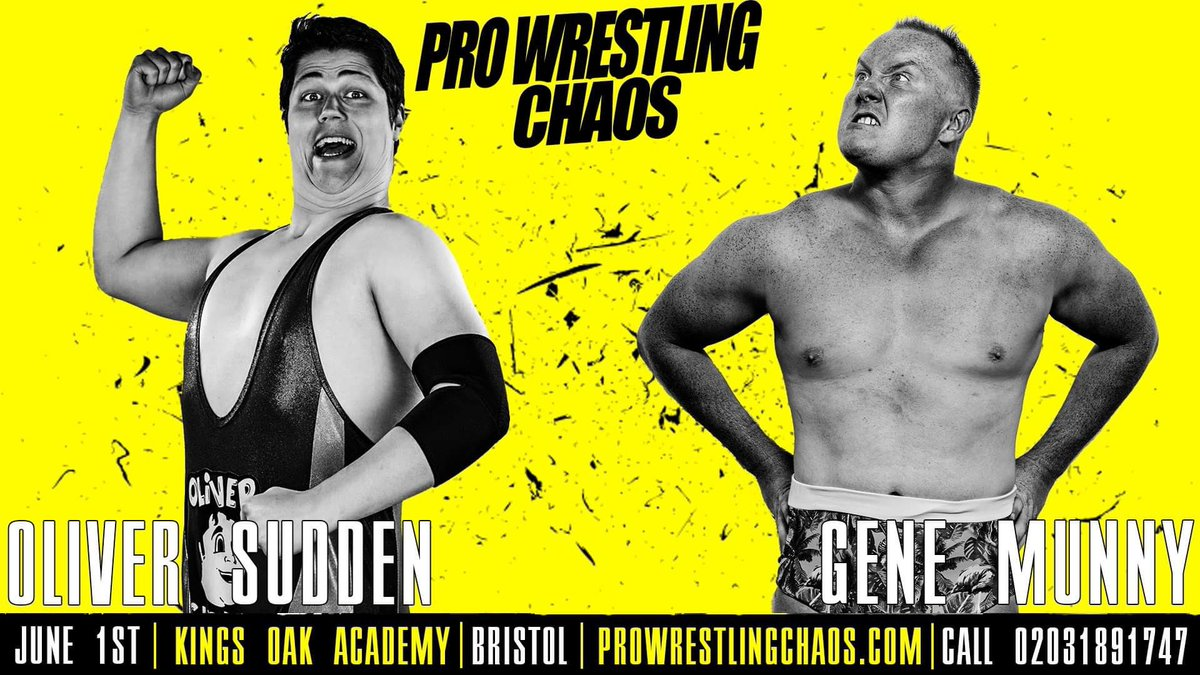 The first match announcement for @chaos_wrestling on June 1st see's a return for a guy who deserves more than the merch table @MrOliverSudden, taking on a debutant making waves all over the UK @imsomunny. You're welcome. #ABetterChaos