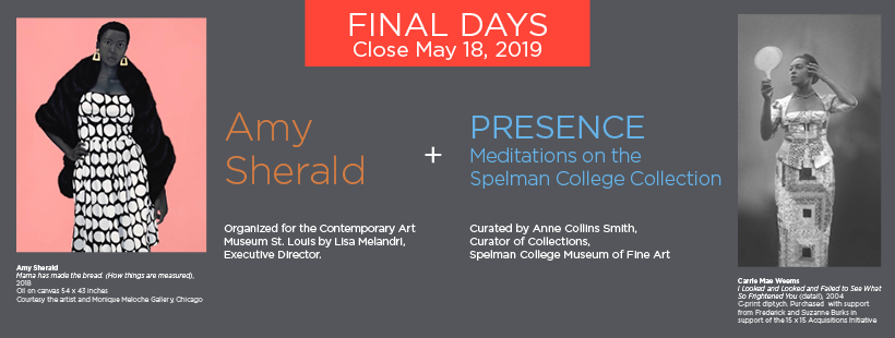 "Only TWO DAYS left to experience ""Amy Sherald"" and ""PRESENCE: Meditations on the Spelman College Collection""on view @spelmanmuseum! The last day to view both exhibitions is Saturday, May 18 from Noon to 4:00PM.  #SpelMuse #SpelAmySherald #SpelPresence"